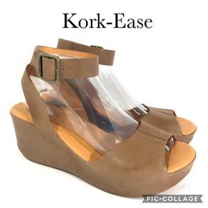 Kork-Ease Nude Wedge Ankle Wrap Sandal 9